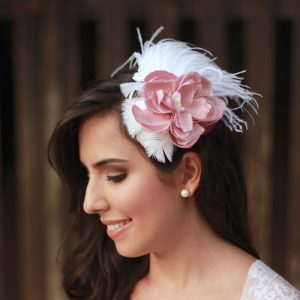 Fascinator Branco e Rosa by Elizabete Munzlinger MR14